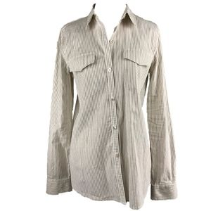 Fitted Linen Striped Button Front Shirt by Theory